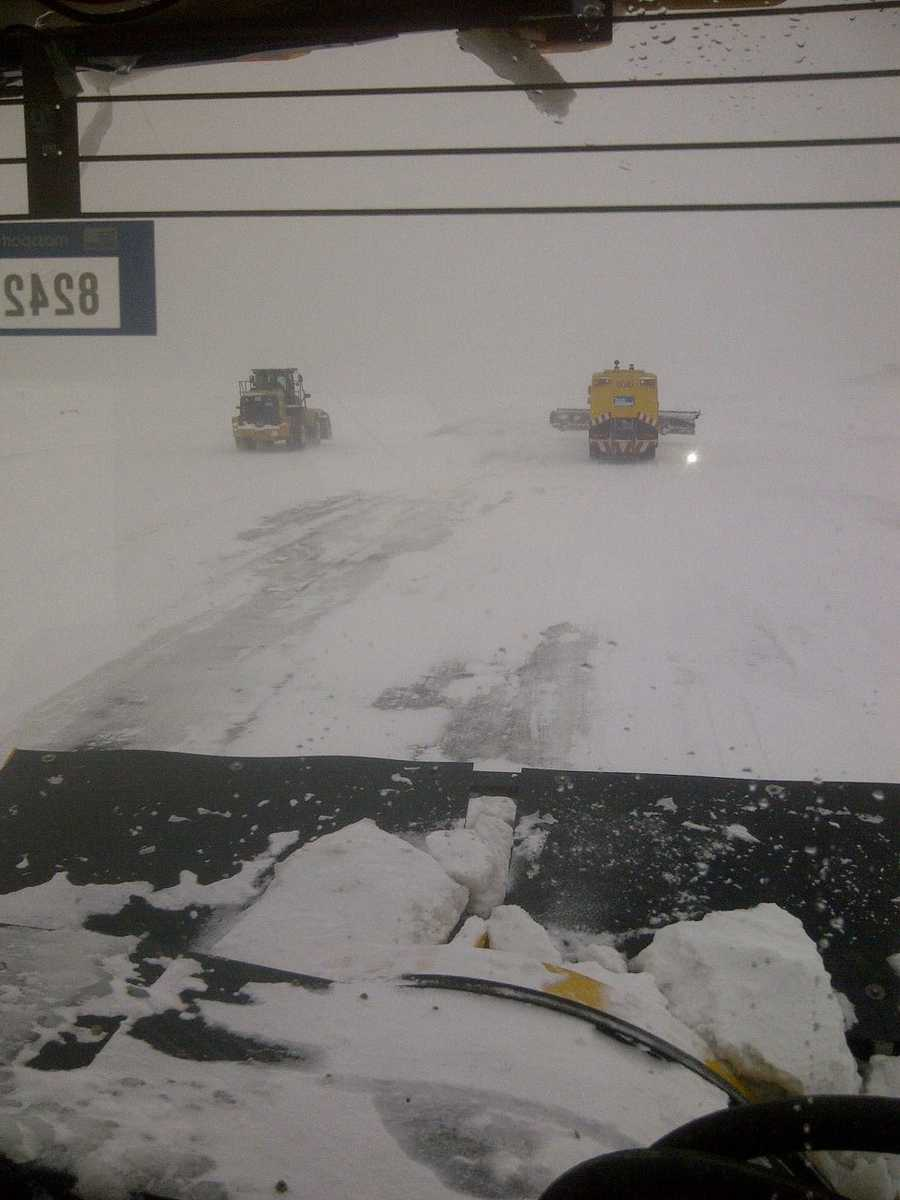 A view from inside a plow at Logan.