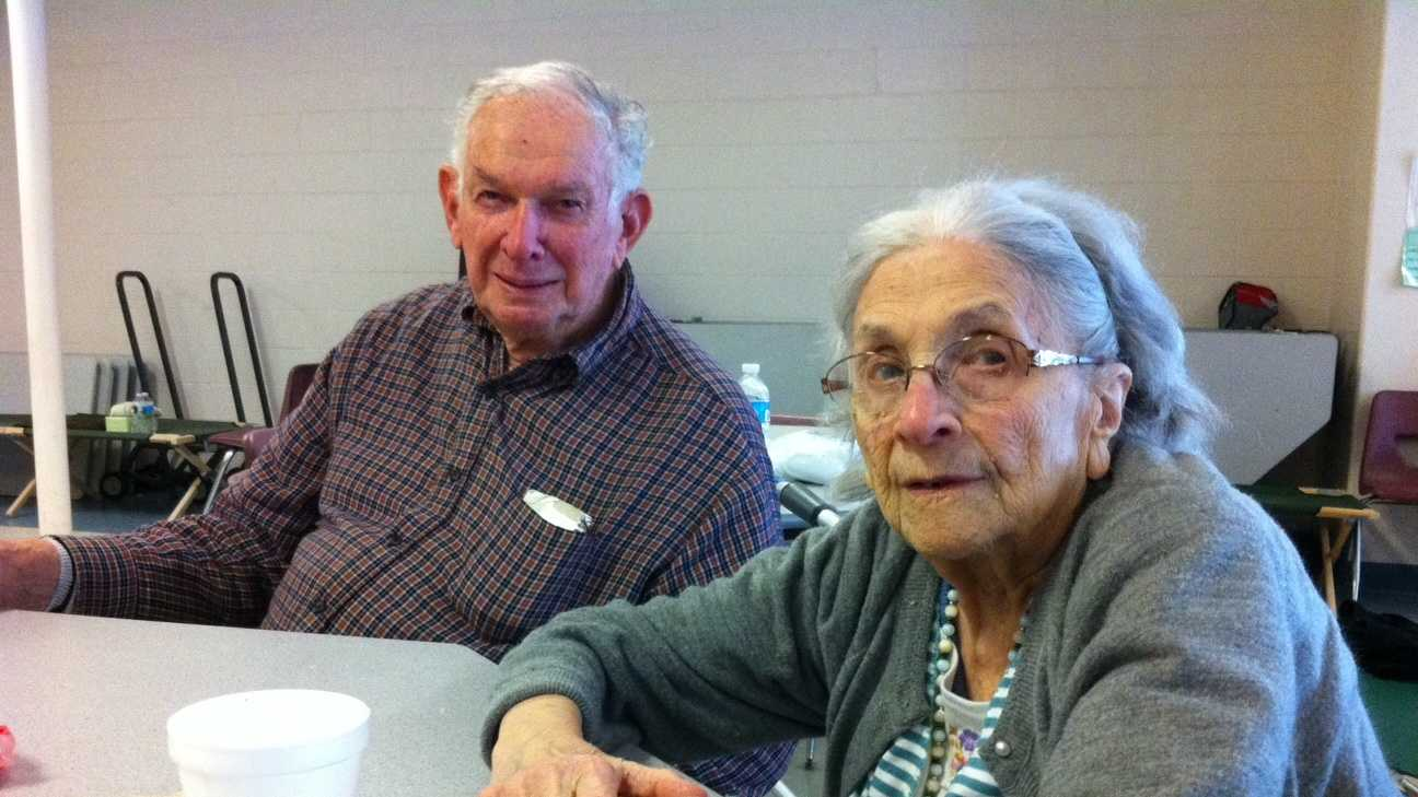 Nina Coppola, 98, and Wesley Philbrick, 90, at a shelter in Marshfield