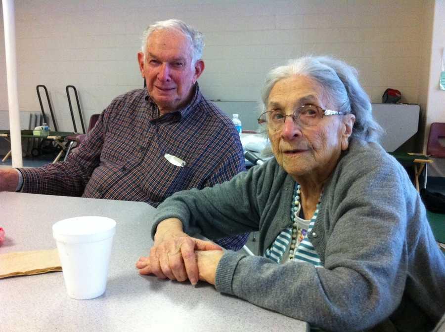 Nina Coppola, 98, and Wesley Philbrick, 90, at a shelter in Marshfield