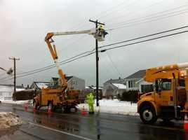 Power repairs on Ocean Street in Marshfield