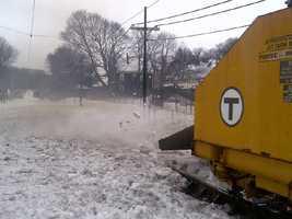 "The MBTA ""Snowzilla"" clearing the Mattapan Trolley Line"