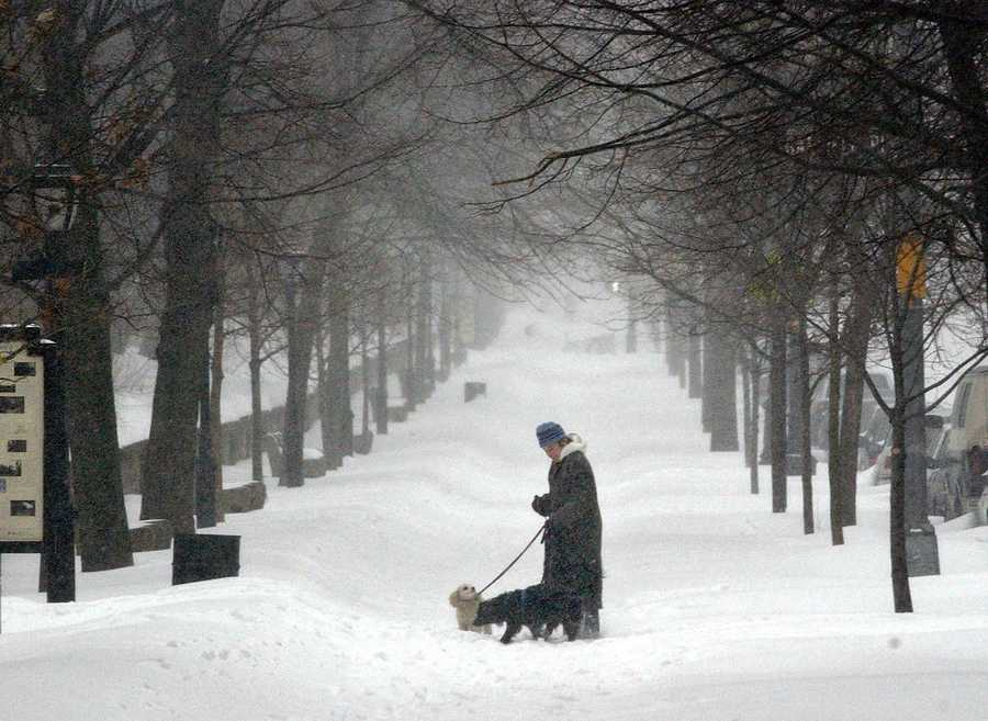 On February 17-18, 2003, 27.6 inches of snow was recorded at Logan Airport, the biggest snowstorm ever.