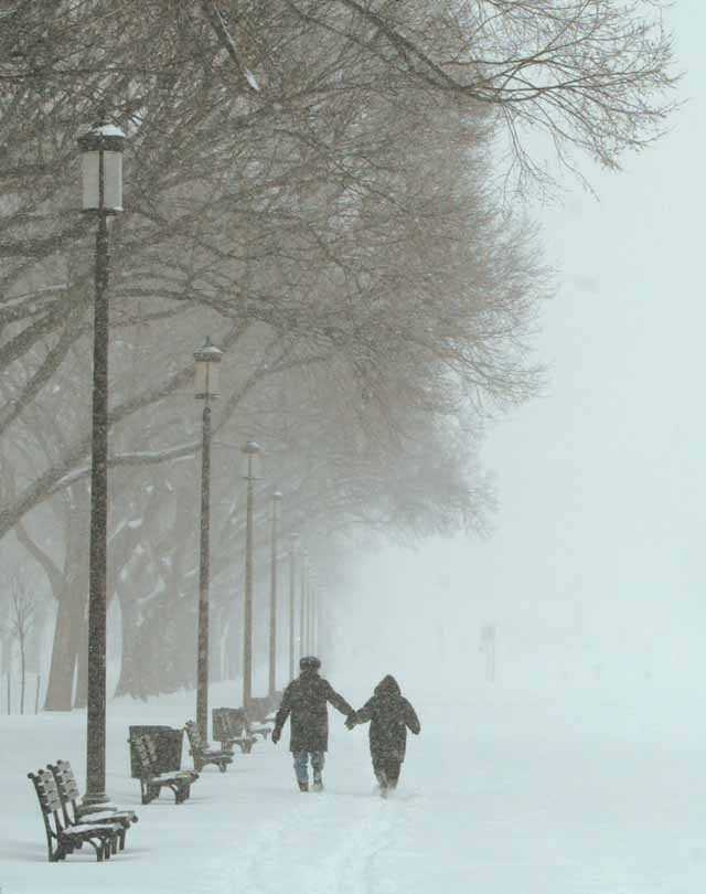 Walking during the storm on the South Shore