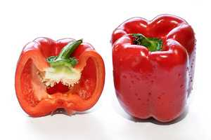 The bright red color of the roasted peppers is loaded with carotenoids.