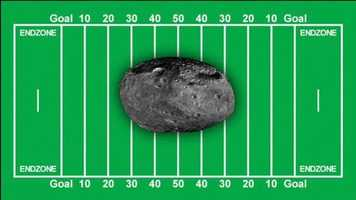 To put the size of the object in perspective, it's about half the size of a football field.