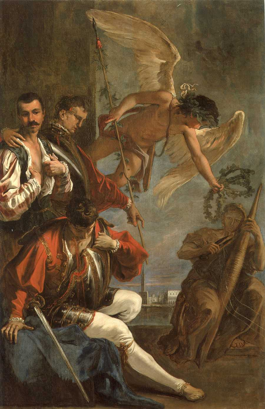 """The circa 1706 painting by Sebastiano Ricci, """"Anteros Pleads with Atropos,"""" displayed in the dining room of The Elms mansion in Newport"""