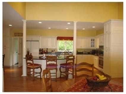 The large kitchen has a center island.