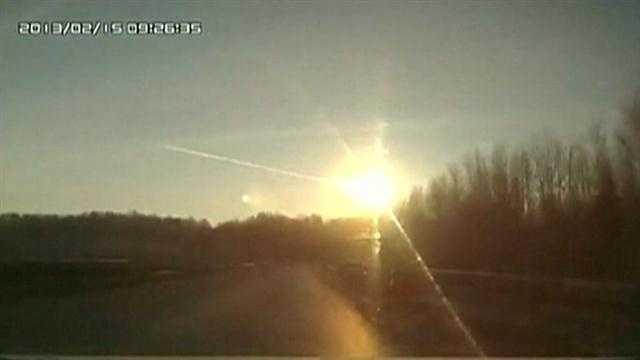 A meteor streaked through the skies above Russia's Urals region Friday morning, before exploding with a flash and boom that shattered glass in buildings and left about 1,000 people hurt, state media said.