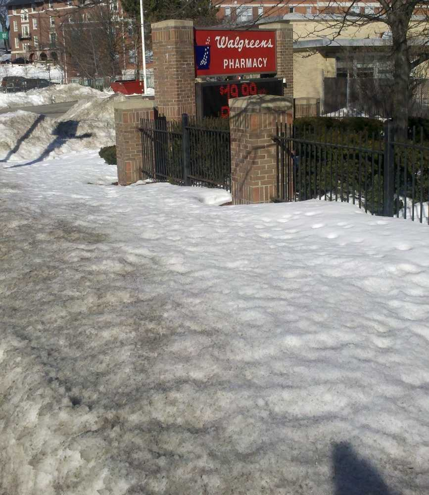 Under city ordinances, snow must be removed from sidewalks and curb ramps abutting businesses and residences no more than three hours after snowfall has ended.