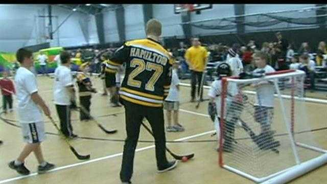 Over 1,200 kids from Newtown, Connecticut turned out to get to meet the Boston Bruins and play a few games of street hockey with the team.