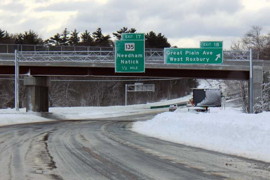 The statewide travel ban helped plows attack many of the state's main roads immediately. This photo taken along Interstate 95 in Needham was just three hours after the blizzard had ended, and before the travel ban was lifted.