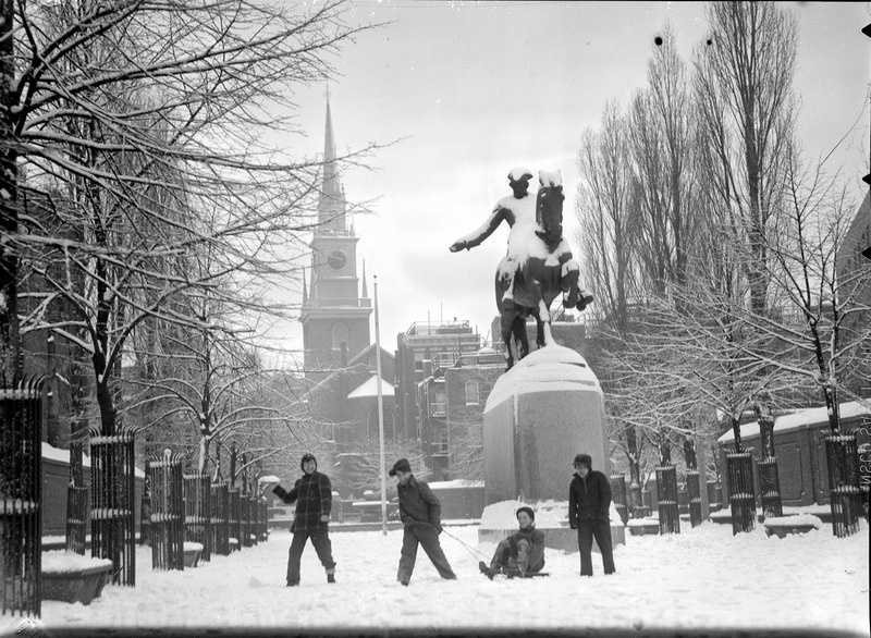 The two storms combined for 27 inches of snow in the city. Pictured here are the Revere Statue and Old North Church, North End. Photos are for illustrative purposes only and do not always reflect the actual snow event.
