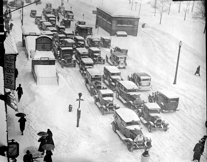 5) February 1934 - 32.9 inchesA view of snow covered vehicles along Tremont Street in Downtown Boston.