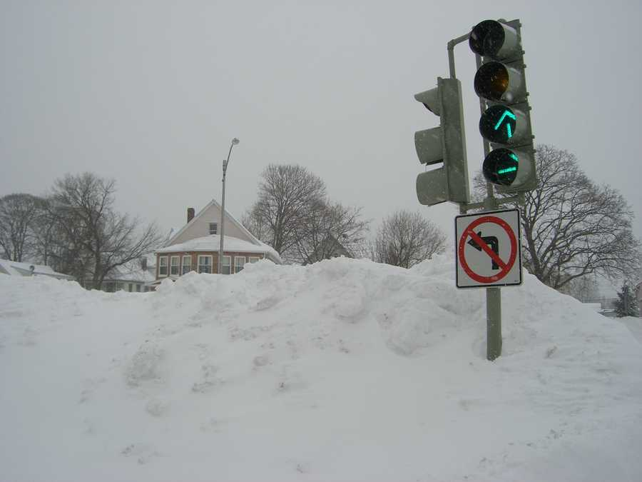 Snowbanks reached seven to eight feet in many areas. This is a look at the Fellsway in Medford near the end of the blizzard.