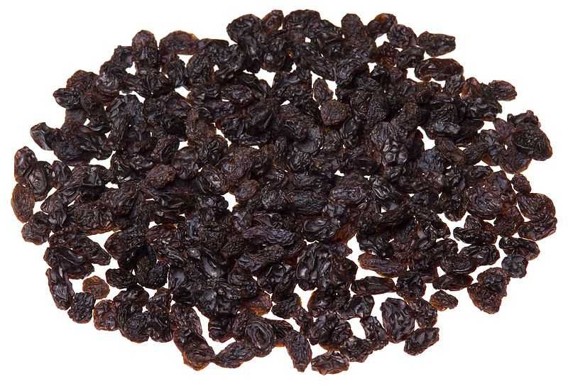 Snacks: 2 Tbsp raisins