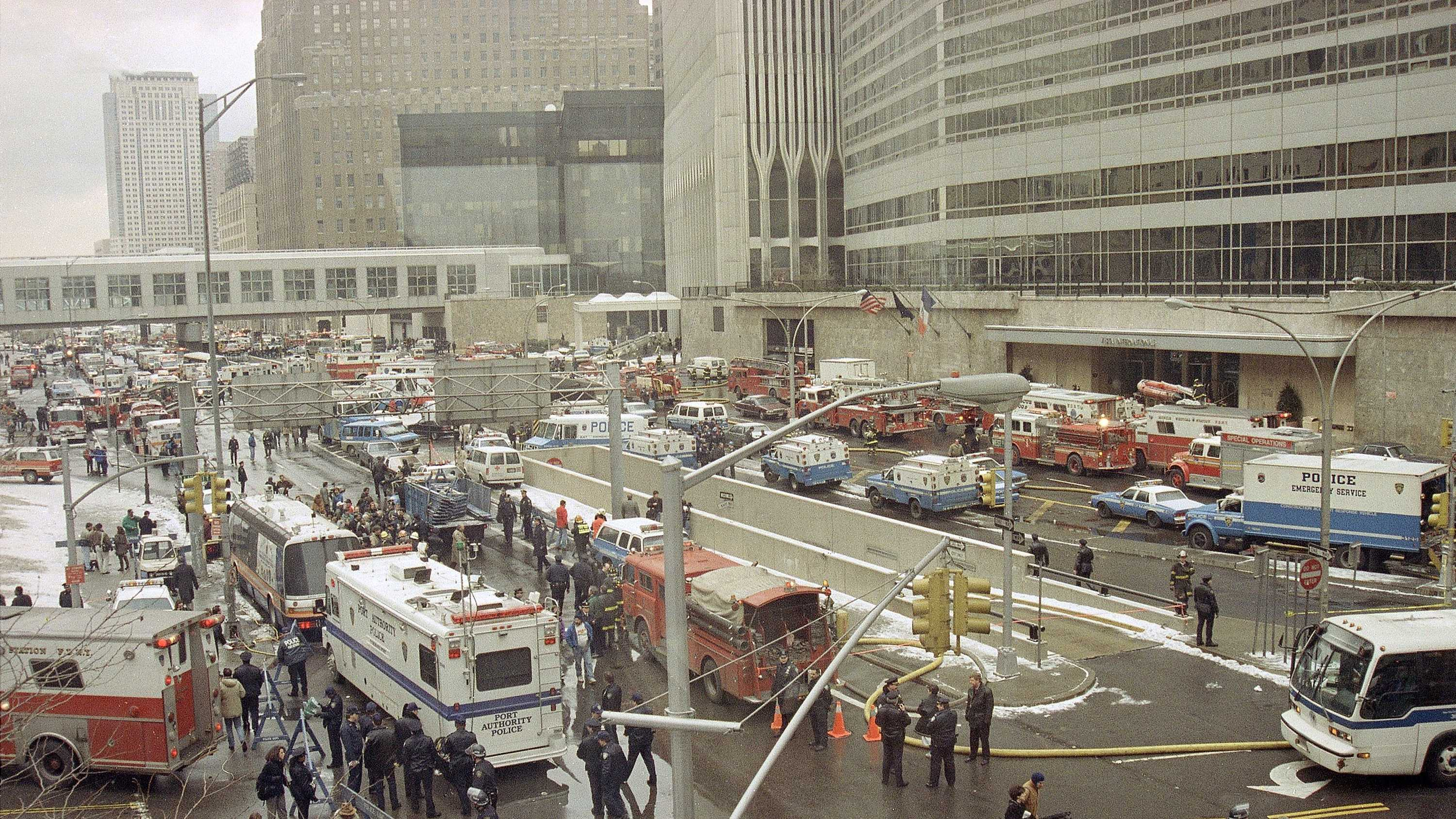 Emergency vehicles and personnel fill New York's West Street following an underground explosion that rocked the World Trade Center at 12:18 pm, Feb. 26, 1993. At least five people were killed and 300 injured in the blast that forced thousands to evacuate the 110-story twin towers.
