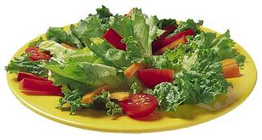Green salad: 1 cup mixed salad greens 4 tsp oil and vinegar dressing