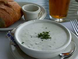 LUNCH New England clam chowder: 3 ounces canned clams ½ small potato 2 Tbsp chopped onion 2 Tbsp chopped celery 6 Tbsp evaporated milk ¼ cup fat-free milk 1 slice bacon 1 Tbsp white flour