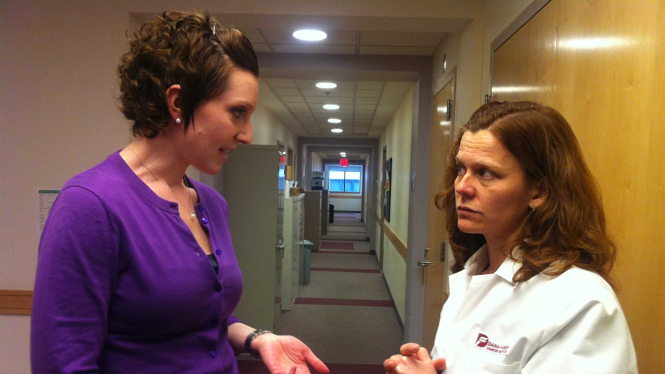 On left, Maggie Loucks, who was diagnosed with breast cancer at age 28. On right, Dr. Ann Partridge, who runs the young women's breast cancer program at Dana-Farber Cancer Institute