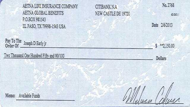 The phony check that was sent to Worcester District Attorney Joseph Early Jr., as part of a Nigerian scam.