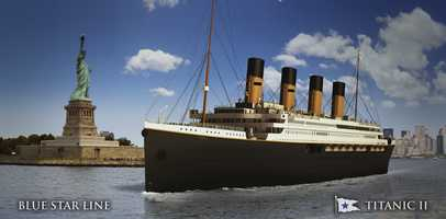In this rendering provided by Blue Star Line, the Titanic II is shown cruising at sea. The ship, which Australian billionaire Clive Palmer is planning to build in China, is scheduled to sail in 2016. Palmer said his ambitious plans to launch a copy of the Titanic and sail her across the Atlantic would be a tribute to those who built and backed the original.