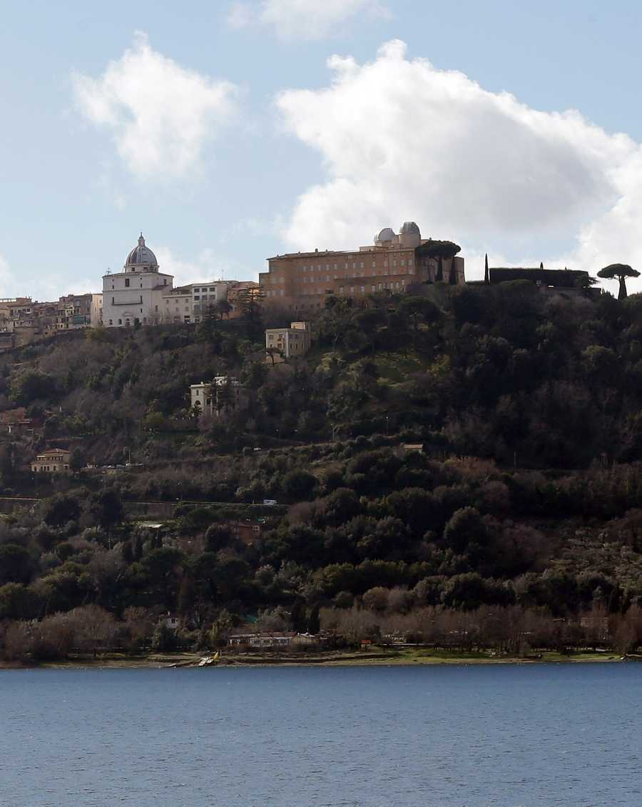 The pope's summer residence of Castel Gandolfo is seen at right, in the town of Castelgandolfo