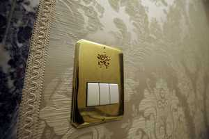 A switch inside a hall of pope's summer residence of Castel Gandolfo, in the town of Castelgandolfo, south of Rome