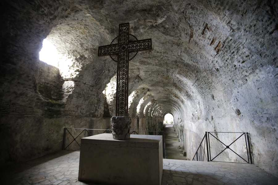 A view of a grotto inside the pope's home