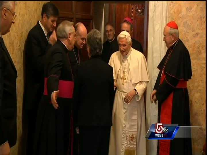 Benedict XVI leaves Vatican for last time as pope, greeted by Cardinals from around the world.