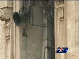 Bells begin to ring across Vatican City and Rome as Benedict XVI flies away from Vatican City.