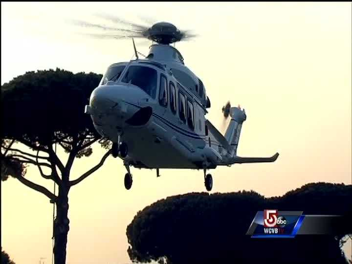 Benedict XVI's helicopter landing at the papal retreat where he will be staying until his permanent residence is ready.