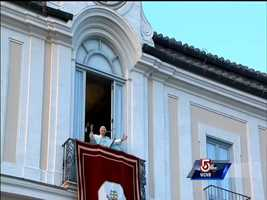 """Pope Benedict XVI greets the faithful for the last time as pope, telling well-wishers gathered at the Vatican's vacation retreat that he is beginning the final stage of his life as a """"simple pilgrim."""""""