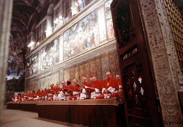 The Sistine Chapel is where the election of each pope takes place in a conclave of the College of Cardinals. This photo shows the Cardinals during the 7th Concistory held in the Sistine Chapel on 14 Oct. 1978. The College of Cardinals elected Karol Wotyla to be Pope John Paul II on Oct. 16, 1978.