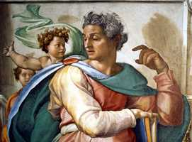A detail of Michelangelo's artwork from the ceiling of the Sistine Chapel. Michelangelo painted 12,000 square feet of the chapel ceiling between 1508 and 1512.