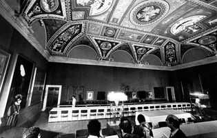 A general view of the dining room where Cardinals will convene to eat during breaks of the Conclave. It was prepared in the Borgia apartment next to the Sistine Chapel
