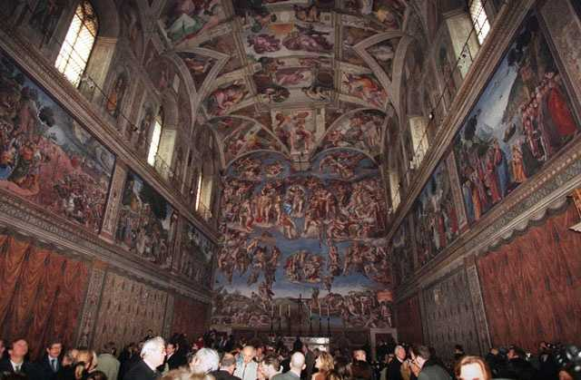 The first mass in the Sistine Chapel was celebrated on 9 August 1483, the Feast of the Assumption, at which ceremony the chapel was consecrated and dedicated to the Virgin Mary.