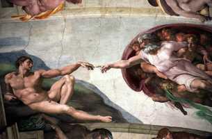 "The ""La Creazione"" (The Creation) fresco by Michelangelo on the ceiling of the Vatican's Sistine Chapel."