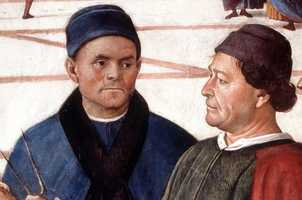"""This picture shows a detail of the """"Consegna Delle Chiavi"""" (The Consigning of the Keys) fresco by Pietro Perugino and Luca Signorelli in the Vatican's Sistine Chapel."""