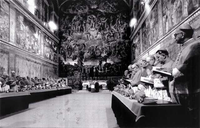 Since 1455, conclaves have been held in the Vatican. In this photo, Cardinals stand in prayer inside the Sistine Chapel after they entered the conclave area for electing the successor of late John Paul I in October 1978.