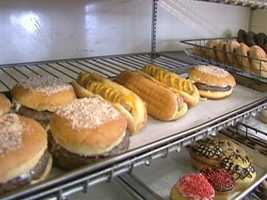 At Ziggy's, donuts are made to look like hamburgers and hot dogs.