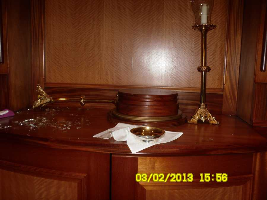 The Rev. Leonard Hindsley of the St. John the Baptist Church said the vandals stole a 100-year-old tabernacle, a chalice and brass candlesticks from 1911.