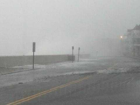 Winthrop Shore Drive closed due to breaking surf.