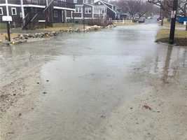 Lingering water after high tide on Wampatuck Ave in Scituate