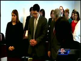 Nathaniel Fujita in handcuffs prior to sentencing.