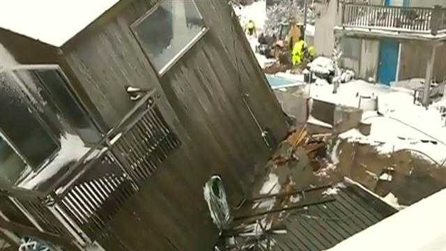 The house collapsed during Friday morning's high tide.