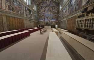 """A view of the Sistine Chapel, at the Vatican, Saturday, March 9, 2013. A raised floor has been installed to prevent listening devices from """"bugging"""" the conclave, as Cardinals prepared to elect the next pope."""