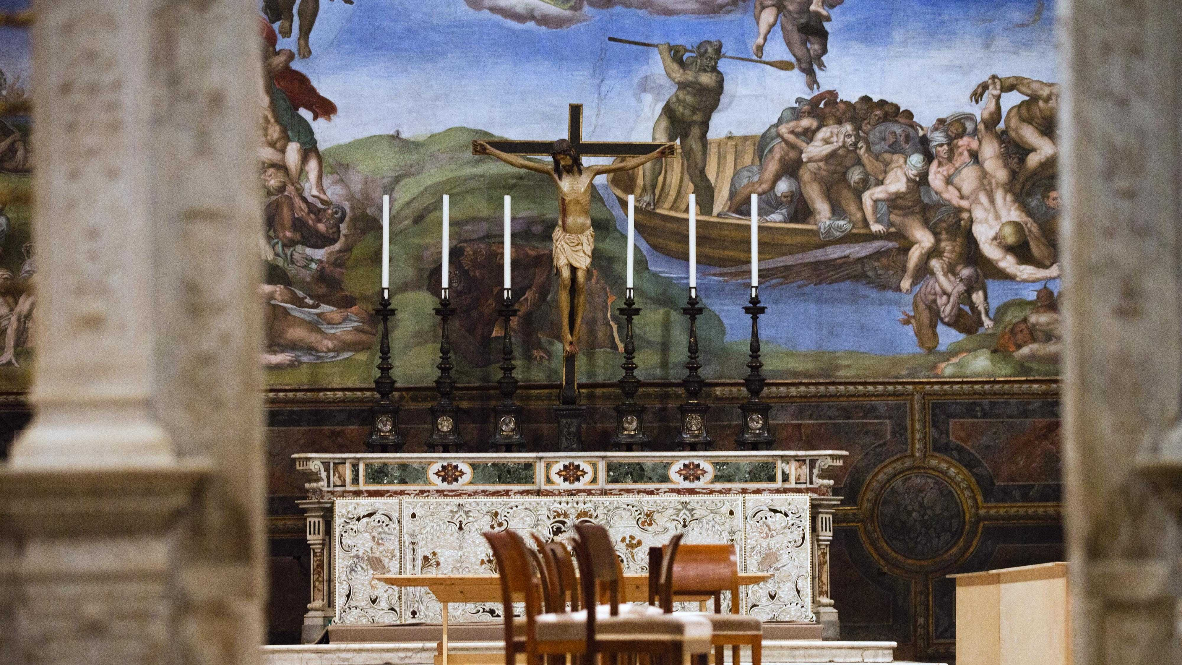 A partial view of the Sistine Chapel, at the Vatican, Saturday, March 9, 2013.
