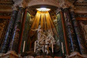 While some have suggested the statue connotes sexual rapture, others believe Bernini aimed to express the facial and body equivalents of a state of divine joy.