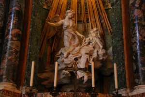 The Ecstasy of Saint Teresa is by Gian Lorenzo Bernini, the leading sculptor of his day. It was completed in 1622