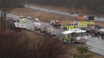State police say a 64-year-old woman passenger in the red Porsche was killed and the 65-year-old man who was driving was hospitalized in critical but stable condition.